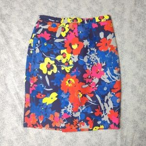LOFT colorful floral pencil skirt size 2P